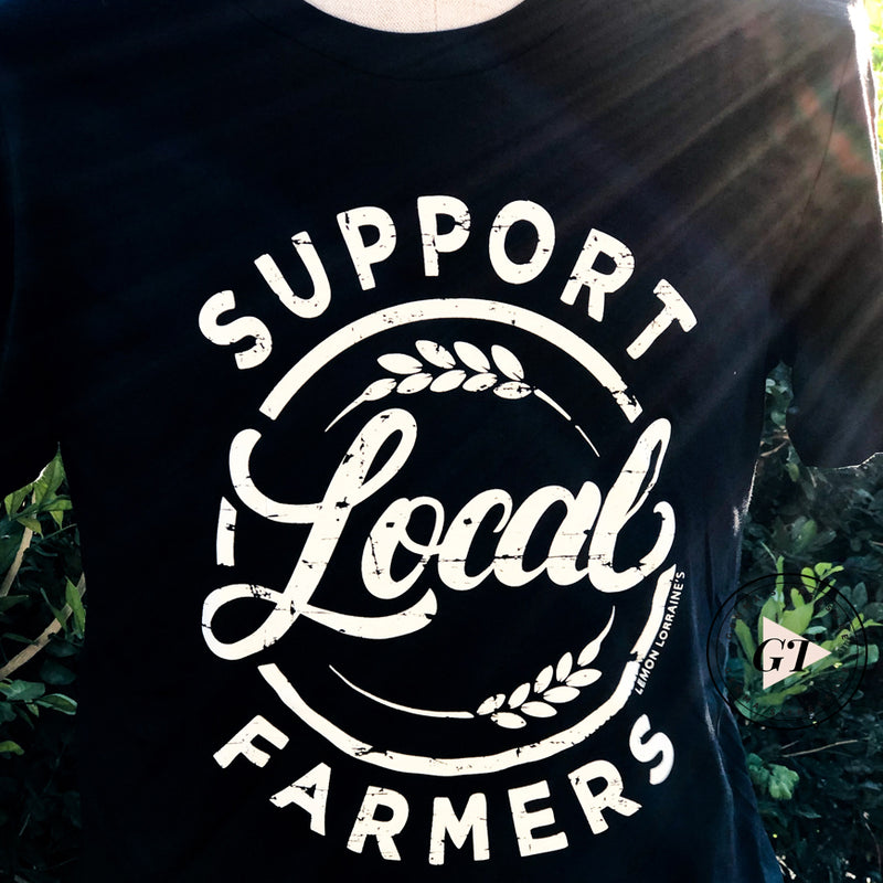 Support Local Farmers Crew Tee Black--Womens Artisan USA American Made Clothing Accessories