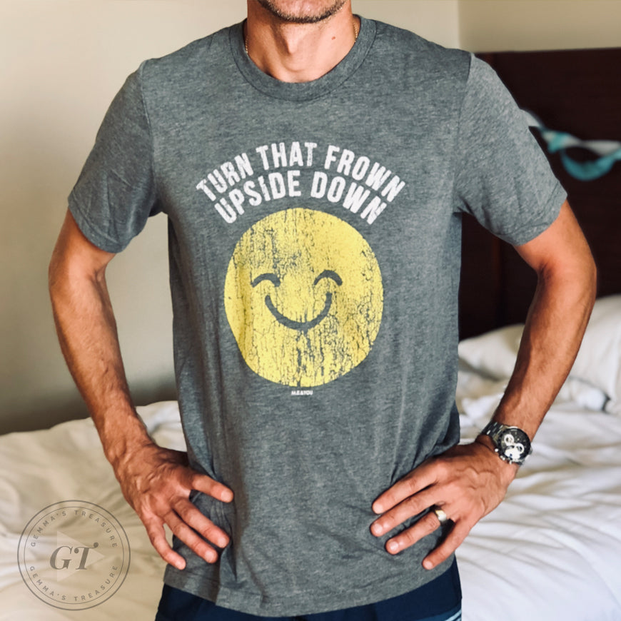 Turn that Frown Upside Down Crew Tee-casual attire, Cotton, graphic tee, Graphic Tees, humor, Mens, Retro, Summer, Tops, unisex tee, Year Round-Womens Artisan USA American Made Clothing Accessories