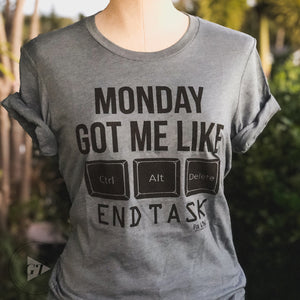 Monday Got Me Like Crew Tee --Womens Artisan USA American Made Clothing Accessories