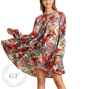 Summer Floral Boho Dress-Bohemian, Boho, Cotton, Dress, Floral, Flowers, Summer, Year Round-Womens Artisan USA American Made Clothing Accessories