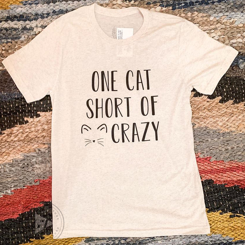 One Cat Short Crew Tee--Womens Artisan USA American Made Clothing Accessories