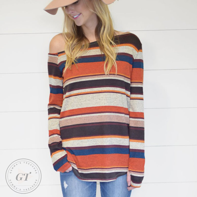 Transitional Off Shoulder Striped Top W/ Thumbholes