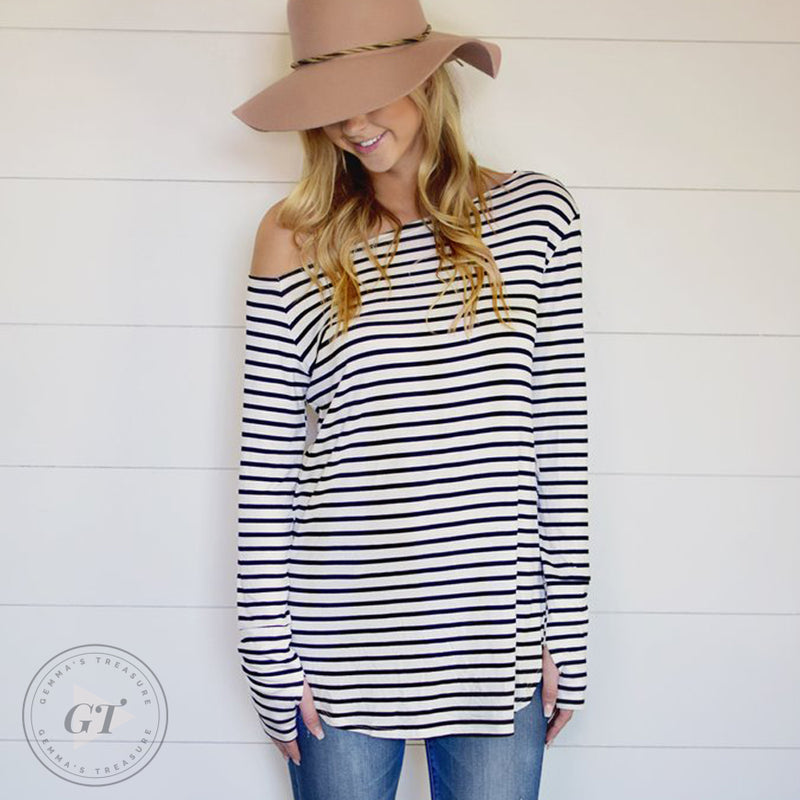 Off Shoulder Striped Sweater Top w/thumb holes-Poly, Span-L/XL-Womens Artisan USA American Made Clothing Accessories