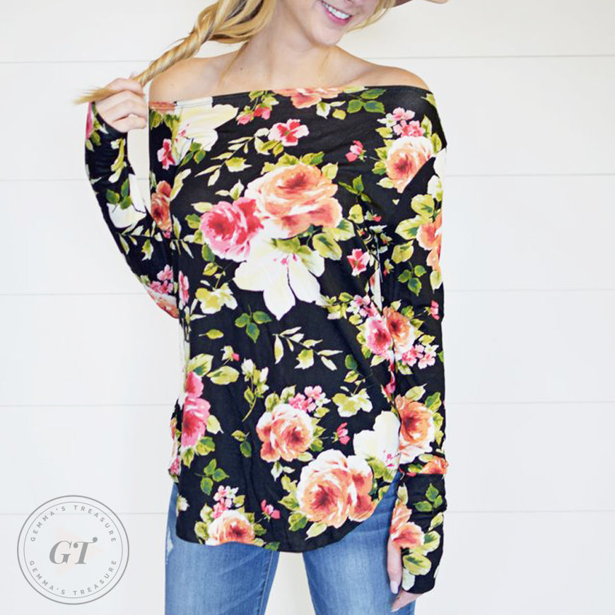 Floral Off Shoulder W/Thumbholes-Rayon-L/XL-Womens Artisan USA American Made Clothing Accessories