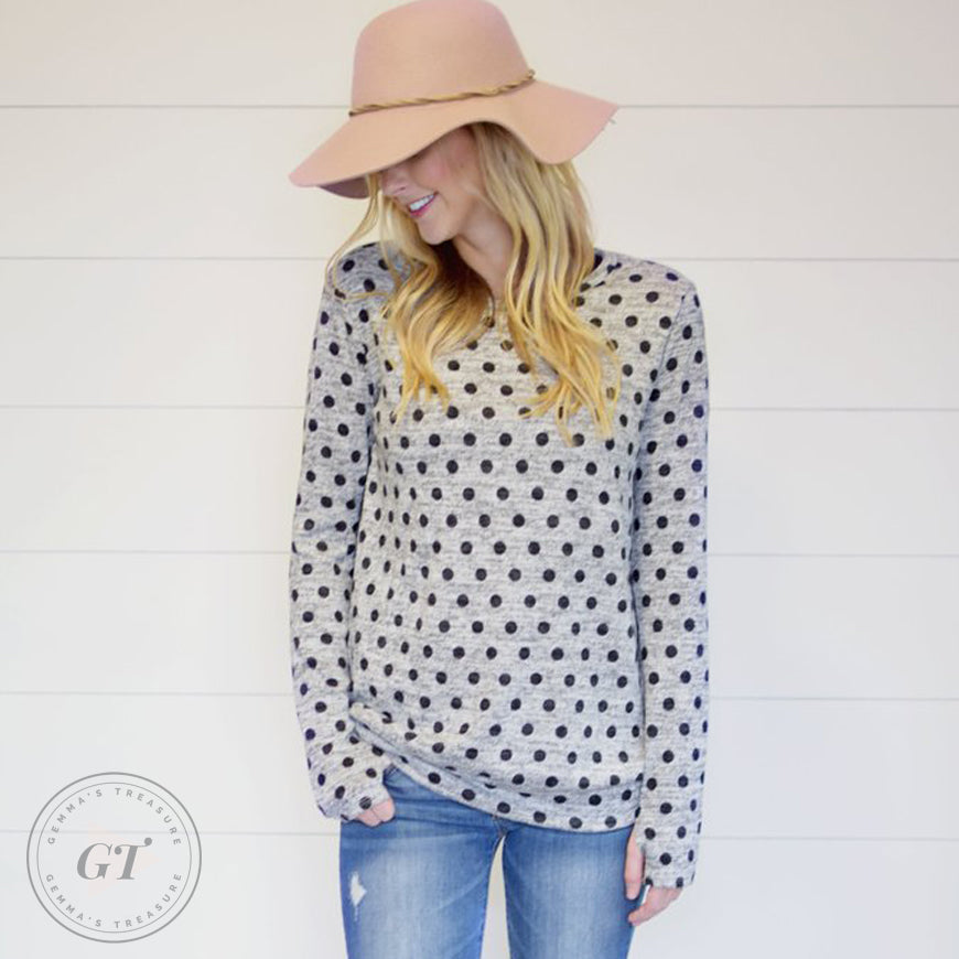 Polka Pullover Sweater Top w/thumbholes
