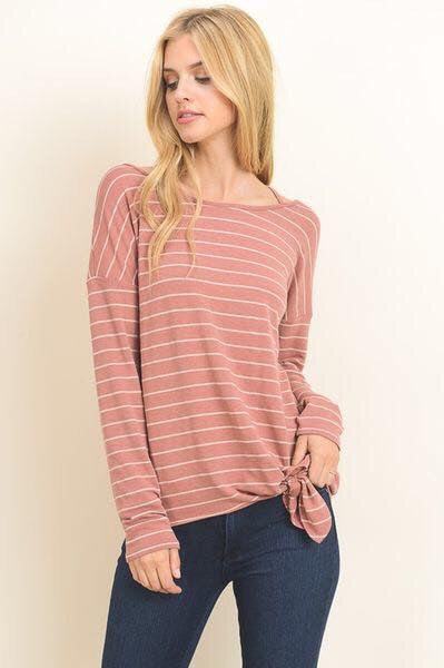 Peach Striped aside Tie Top--Womens Artisan USA American Made Clothing Accessories