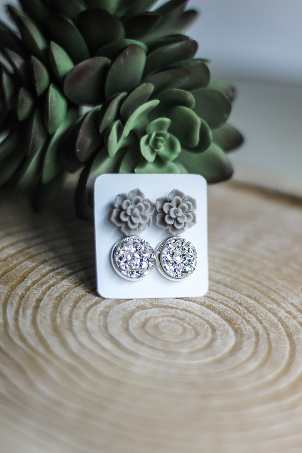 Double Set - Gray Succulent - wholesale-Made in the USA-Womens Artisan USA American Made Clothing Accessories