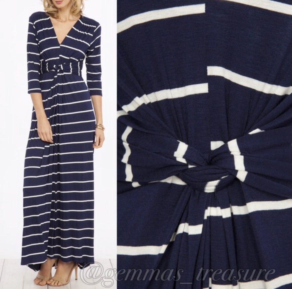 Navy & White Stripe Twist Maxi--Womens Artisan USA American Made Clothing Accessories