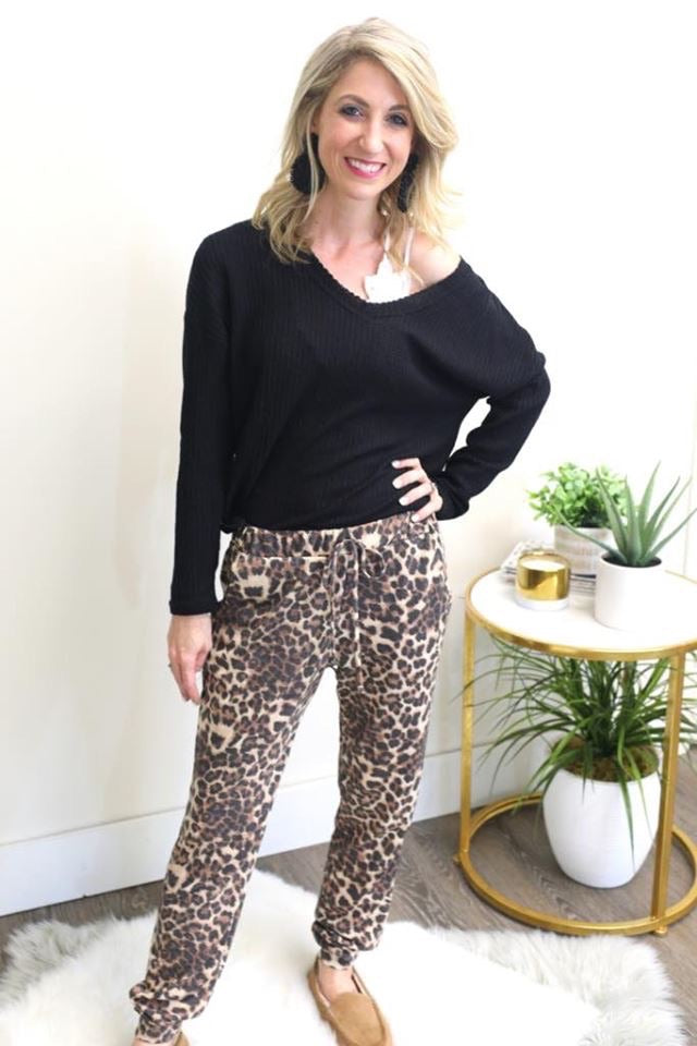 Brown Leopard Joggers-Bottoms, Loungewear-Womens Artisan USA American Made Clothing Accessories