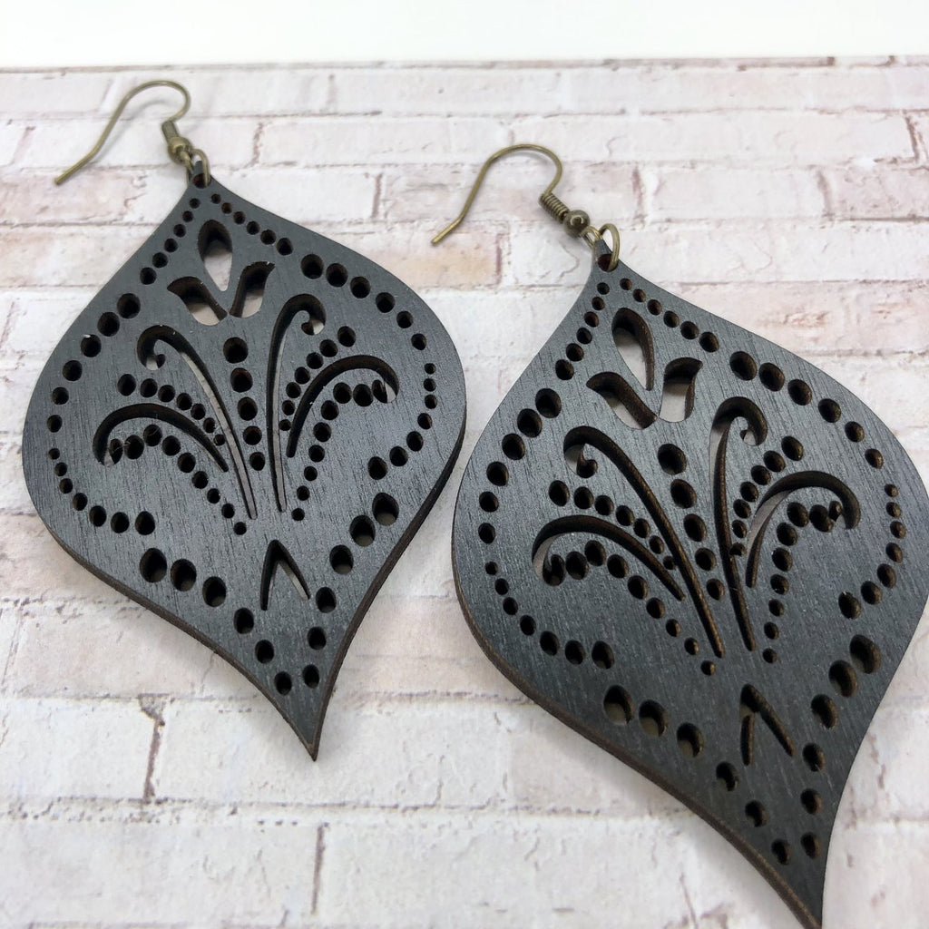 Black Wood Adornment Earrings-accessories, earrings, jewelry-Womens Artisan USA American Made Clothing Accessories