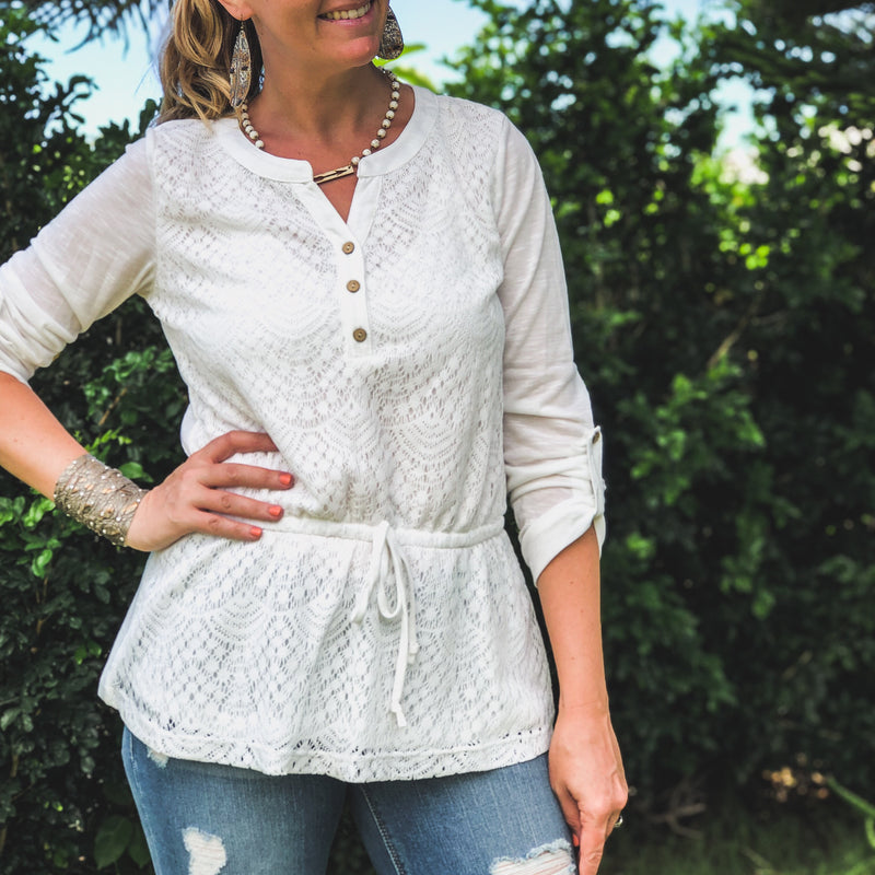White Peplum Top--Womens Artisan USA American Made Clothing Accessories