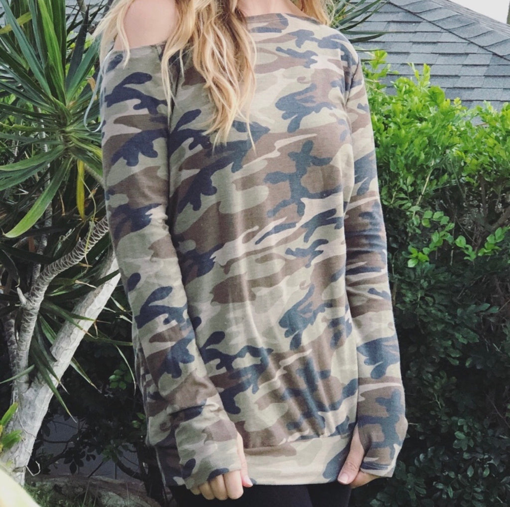 Camo Off Shoulder Top w/ Thumbholes-camo, Off Shoulder, Thumb holes-Womens Artisan USA American Made Clothing Accessories