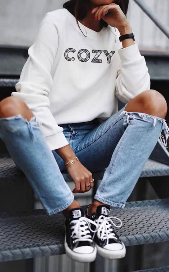 Cozy Sweatshirt || White--Womens Artisan USA American Made Clothing Accessories