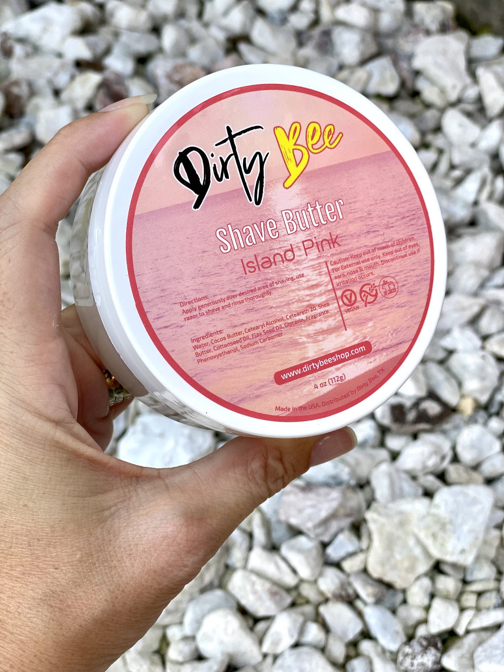 Island Pink Shave Butter-Bath & Body, Dirty Bee, Dropship, Island Pink, Made in the USA, Shave-Womens Artisan USA American Made Clothing Accessories