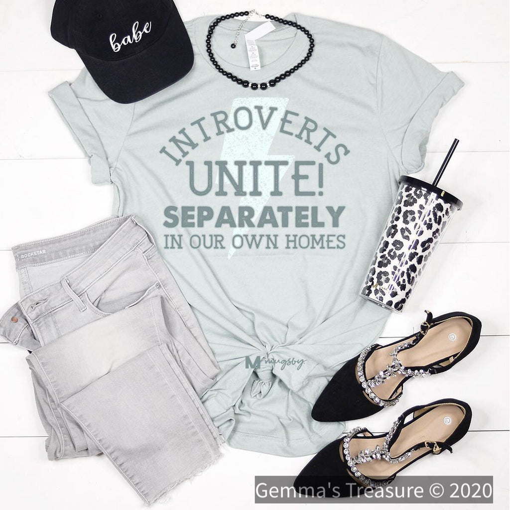 Introverts Unite-Graphic Tees, Tops-Womens Artisan USA American Made Clothing Accessories