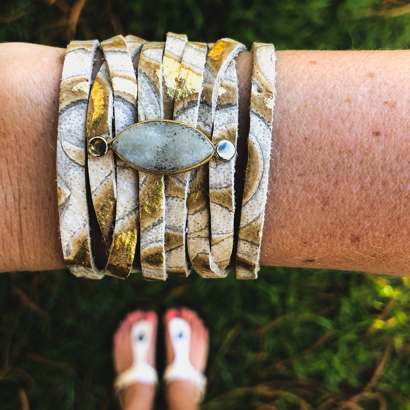 Leather and Druzy Bracelets--Womens Artisan USA American Made Clothing Accessories