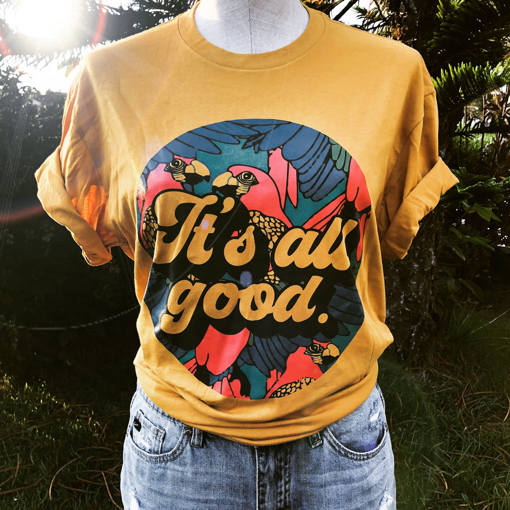 It's All Good! Crew Tee || Gold--Womens Artisan USA American Made Clothing Accessories