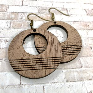 Wood Disk Earrings -accessories, earrings, jewelry-Womens Artisan USA American Made Clothing Accessories