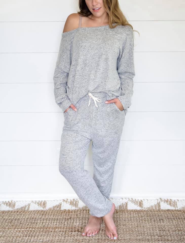 Grey Heather Lounge Jogger Pant--Womens Artisan USA American Made Clothing Accessories