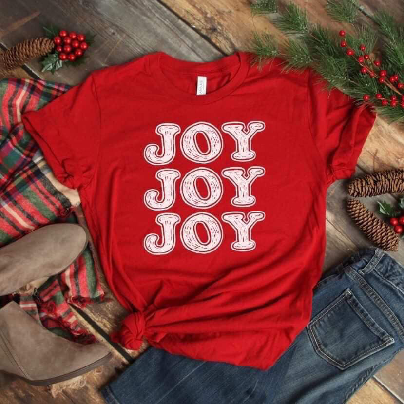 Joy Joy Joy Christmas Tee--Womens Artisan USA American Made Clothing Accessories