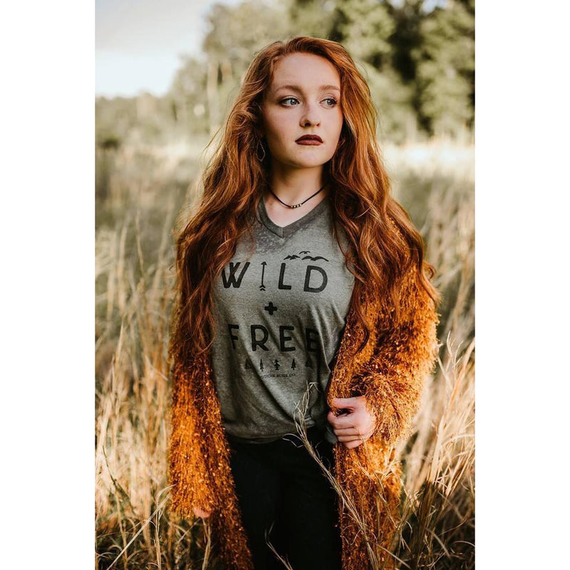 Wild and Free Bleached Tee-bleached, fall, Graphic Tees, v-neck, vneck, wild and free-Womens Artisan USA American Made Clothing Accessories