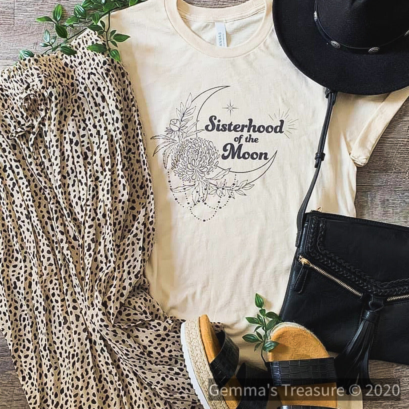 Sisterhood of The Moon-Graphic Tees, Tops-Womens Artisan USA American Made Clothing Accessories