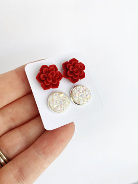 Double Earring Set - Red Succulents / white