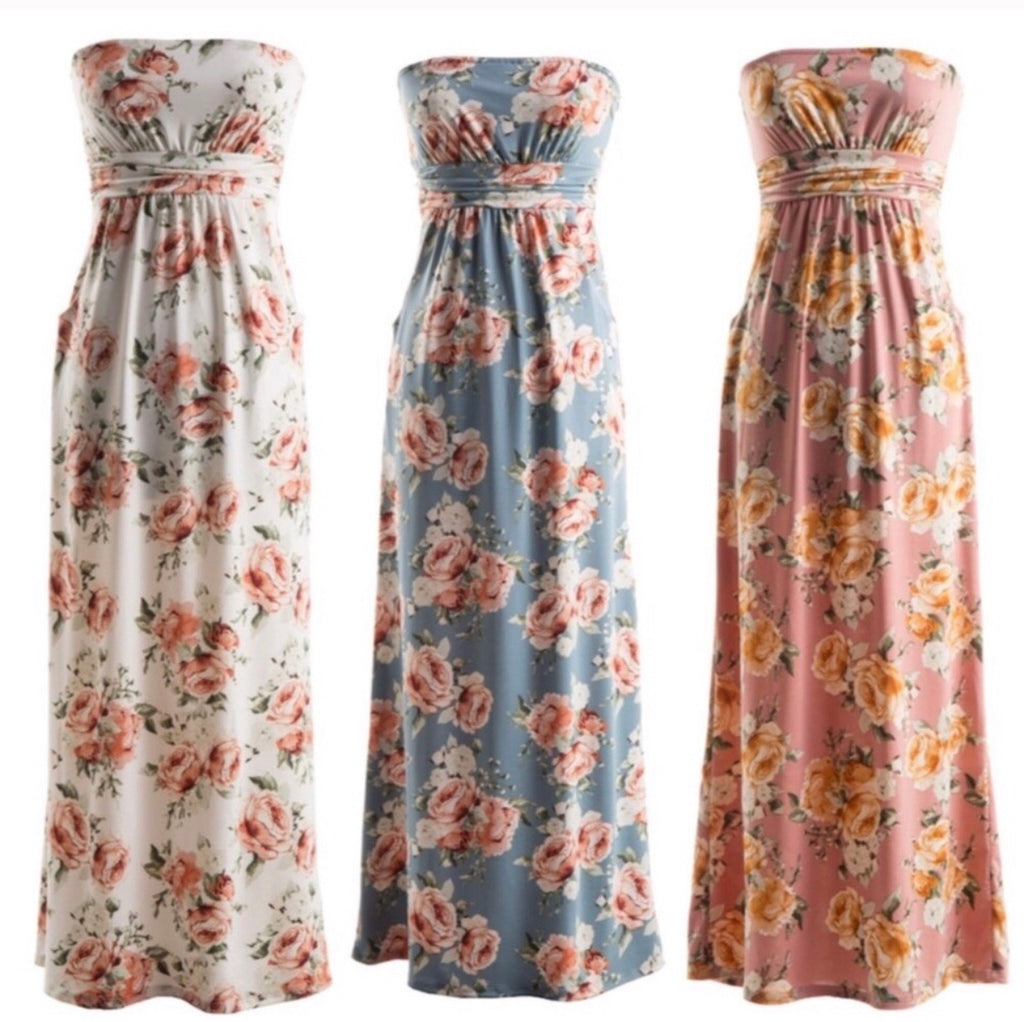 Strapless Floral Maxi Dress--Womens Artisan USA American Made Clothing Accessories