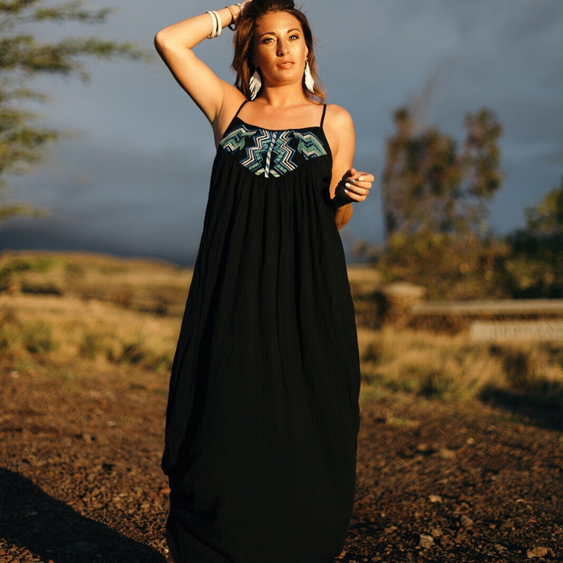 Black Pleated Maxi Dress w/accent-Dresses-Womens Artisan USA American Made Clothing Accessories
