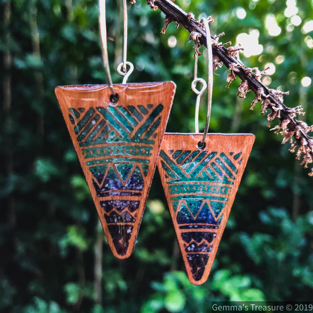 Triangular Wood Ombré Earrings-Jewelry-Womens Artisan USA American Made Clothing Accessories