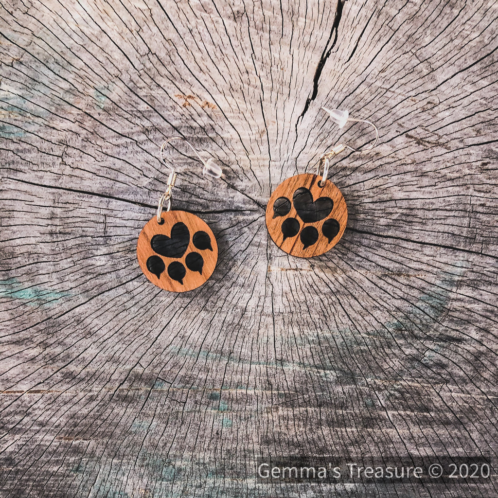 Cat Paws Wood Earrings - Made in Hawaii--Womens Artisan USA American Made Clothing Accessories