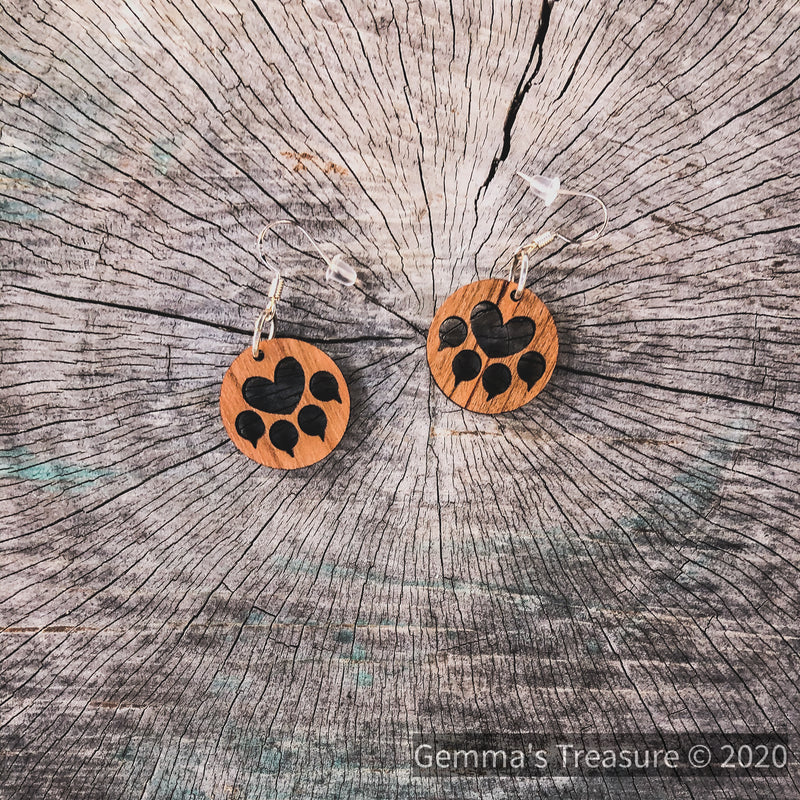 Cat Paws Wood Earrings - Made in Hawaii-Hawaii-Womens Artisan USA American Made Clothing Accessories