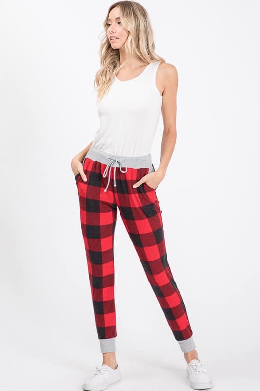 Red Buffalo Plaid Joggers-Bottoms, Buffalo plaid, christmas, holiday, joggers, Made in the USA, On hand, plaid-Womens Artisan USA American Made Clothing Accessories