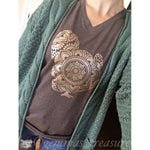Gold Foil Turkey Tee-Made in the USA-Womens Artisan USA American Made Clothing Accessories
