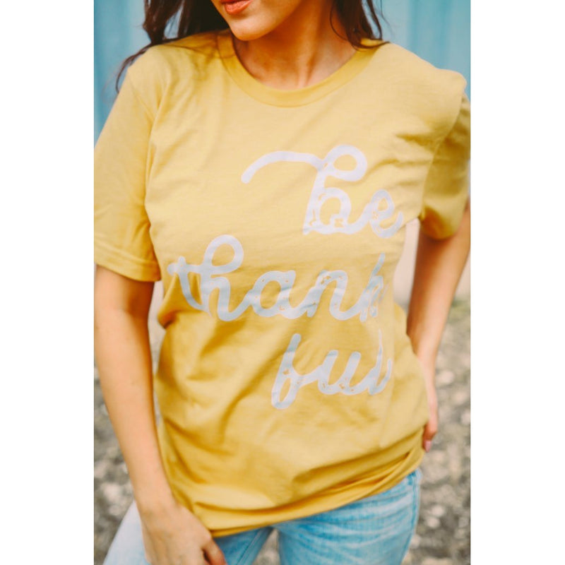 Be Thankful Tee || Gold Mustard--Womens Artisan USA American Made Clothing Accessories