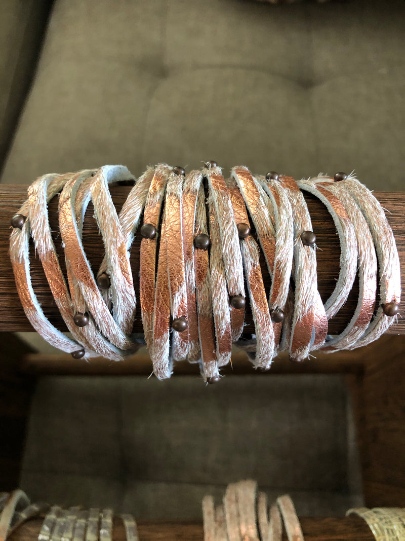 Leather Wrap Bracelet with Crystal Accents-Jewelry-Womens Artisan USA American Made Clothing Accessories