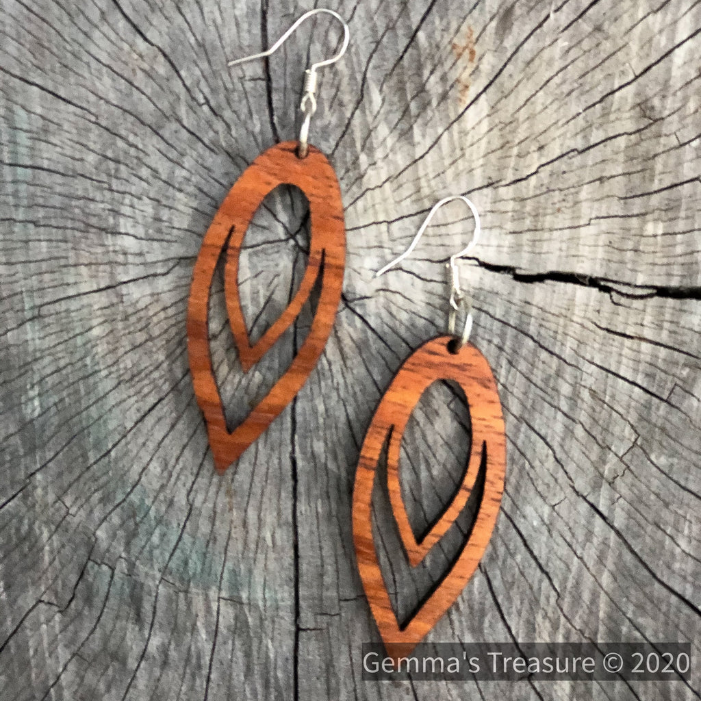 Koa Artisan Earrings - Made in Hawaii-Hawaii-Womens Artisan USA American Made Clothing Accessories