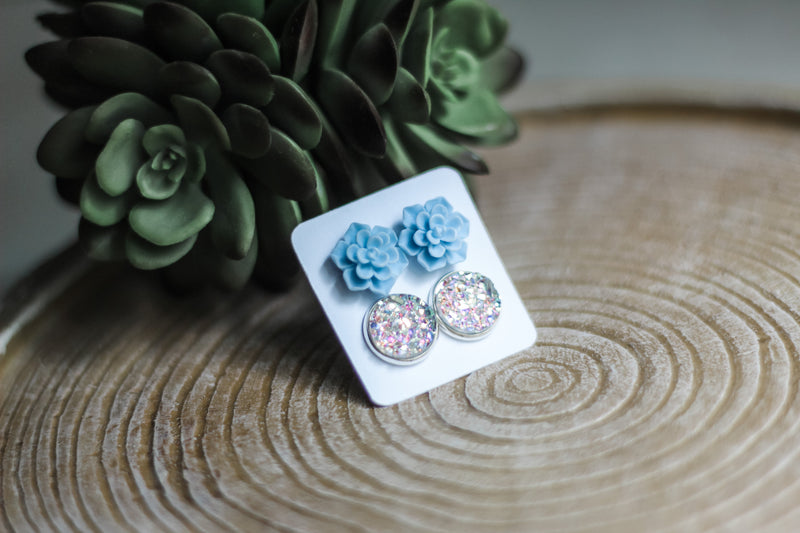 Double Set - Baby Blue Succulent - wholesale--Womens Artisan USA American Made Clothing Accessories