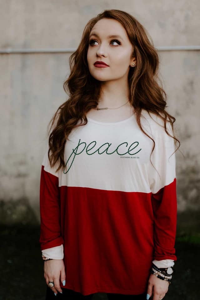 Peace Long Sleeve Christmas Top--Womens Artisan USA American Made Clothing Accessories