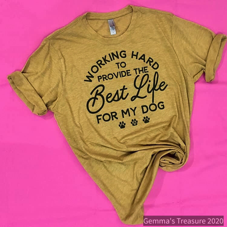 Working Hard Dog Mom Tee-Gifts, Pets-Womens Artisan USA American Made Clothing Accessories