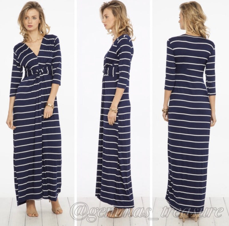 Navy & White Stripe Twist Maxi-Dresses, Made in the USA-Womens Artisan USA American Made Clothing Accessories