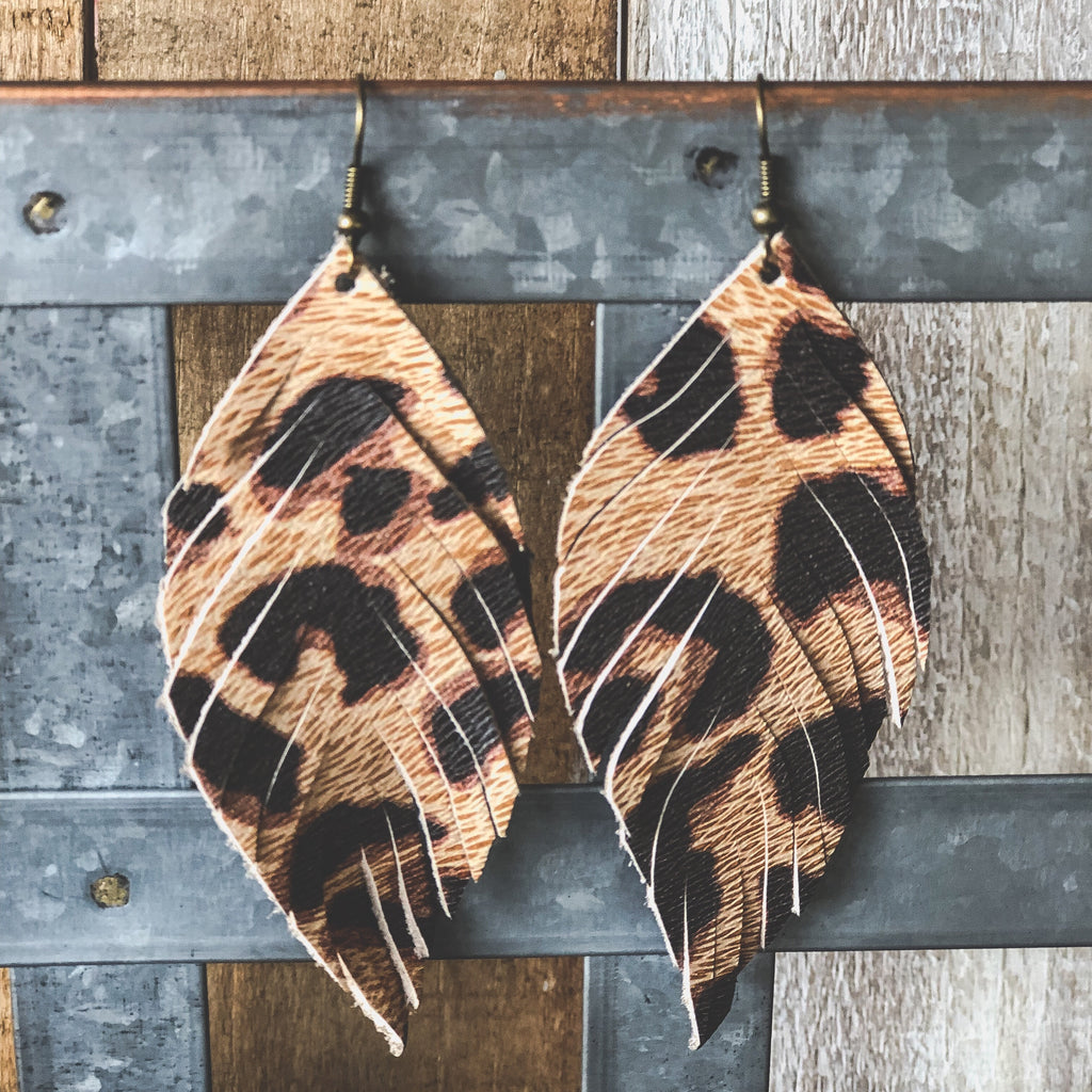 Leopard Feather Leather Earrings--Womens Artisan USA American Made Clothing Accessories