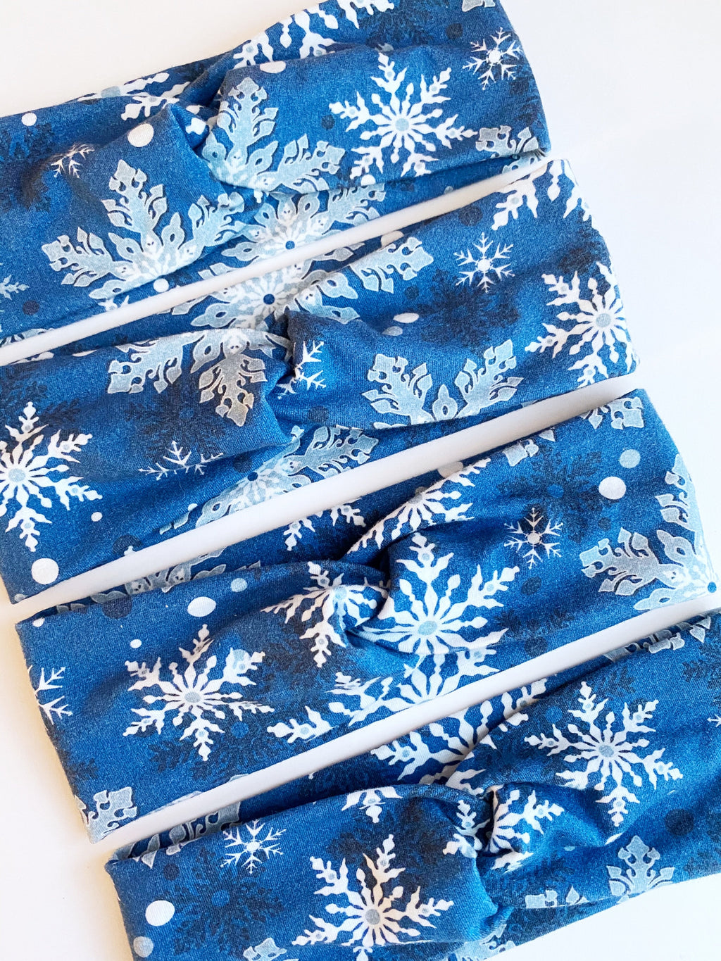 Royal Blue Snowflakes Headband - On Hand--Womens Artisan USA American Made Clothing Accessories