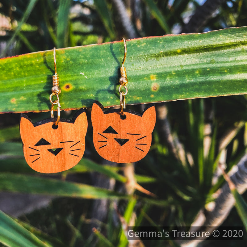 Cat's Meow Wood Earrings - Made in Hawaii--Womens Artisan USA American Made Clothing Accessories