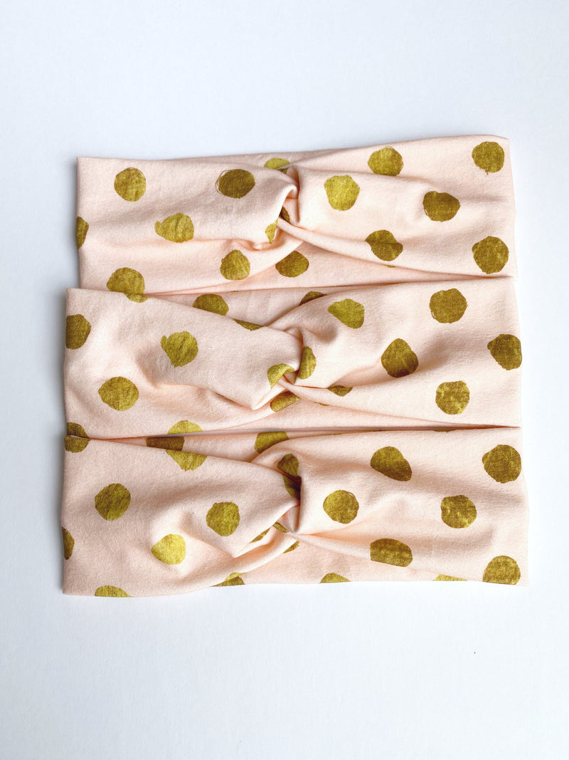 Light Pink/Gold Polka Dot Headband--Womens Artisan USA American Made Clothing Accessories