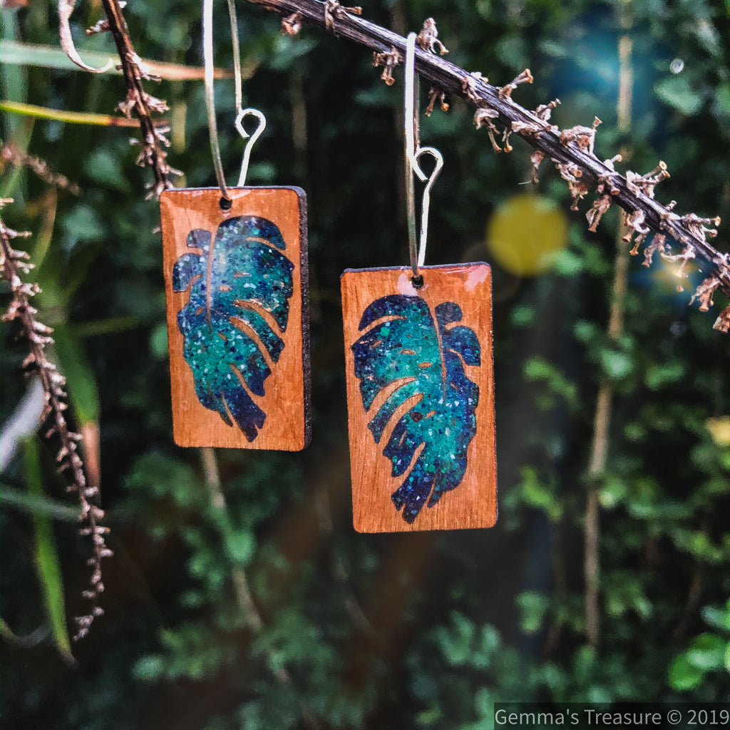 Monstera Wood Multi Effect Earrings--Womens Artisan USA American Made Clothing Accessories