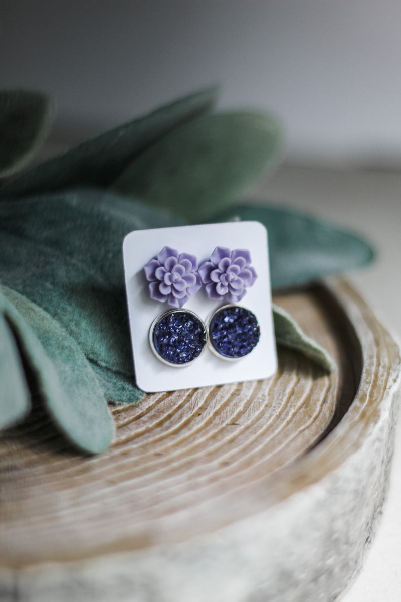Double Set - Lilac Succulent - wholesale-Made in the USA-Womens Artisan USA American Made Clothing Accessories