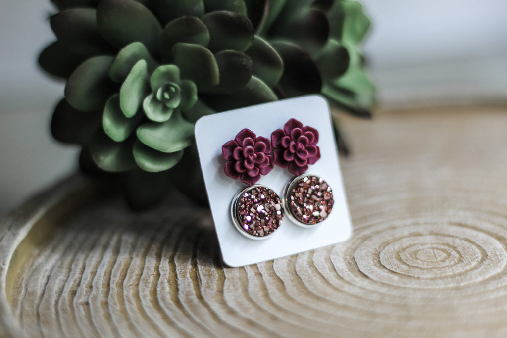 Double Set - Burgundy Succulent - wholesale-Made in the USA-Womens Artisan USA American Made Clothing Accessories