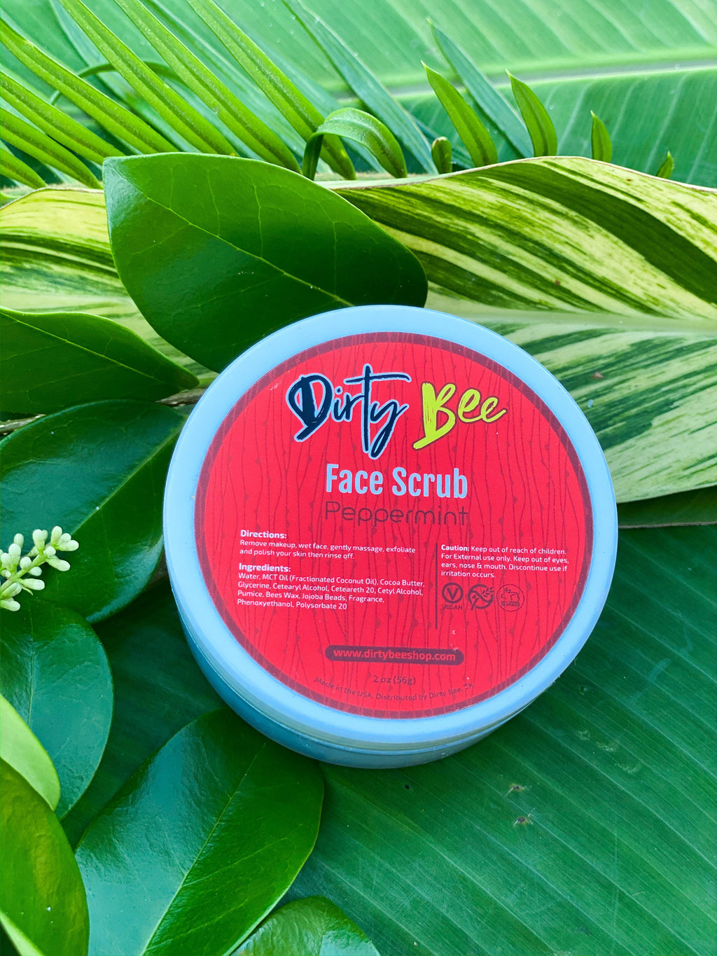 Peppermint Face Scrub - On Hand-Bath & Body, Dirty Bee, Dropship, face, Face Scrub, Made in the USA, Peppermint-Womens Artisan USA American Made Clothing Accessories