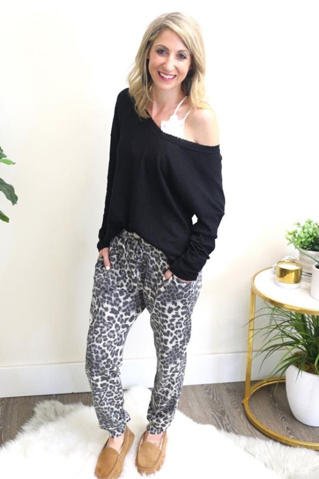 Grey Leopard Joggers-Bottoms, Loungewear-Womens Artisan USA American Made Clothing Accessories